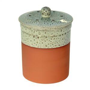 Chetnole Terracotta Compost Caddy - Olive Green & White