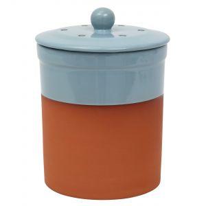 Chetnole Terracotta Compost Caddy - Pale Blue