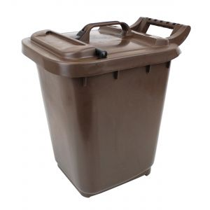 Large Kerbside Compost Caddy with Locking Lid - 23L - Brown