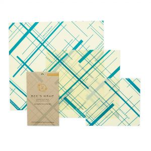 Bee's Wrap Food Covers - Set of 3 - Geometric Teal Design