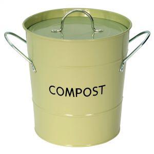 Sage Green Metal Compost Pail
