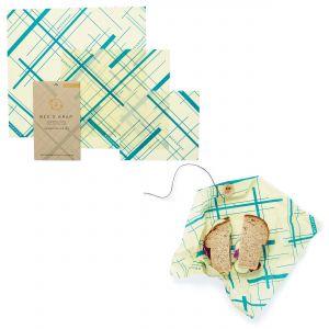 Bee's Wrap Food Covers -Set of 3 & Sandwich Wrap - Geometric Teal Design