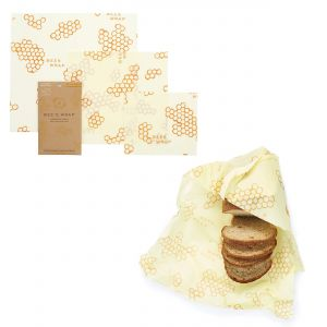 Bee's Wrap Food Covers - Set of 3 & Bread Wrap - Honeycomb Design