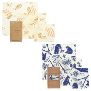 Bee's Wrap Food Covers - 2 x Sets of 3 - Honeycomb & Bees + Bears Design