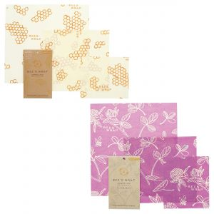 Bee's Wrap Food Covers - 2 x Sets of 3 - Honeycomb & Clover Design