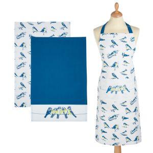 Kitchencraft Kitchen Apron & Tea Towels (2 Pack) Set - Blue Bird