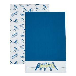 Kitchencraft Tea Towel Set of 2 - Blue Bird