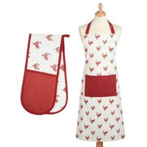 Kitchencraft Kitchen Apron & Double Oven Glove Set - French Hen