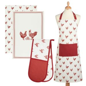 Kitchencraft Kitchen Apron, Tea Towels (2 Pack) & Double Oven Glove Set - French Hen