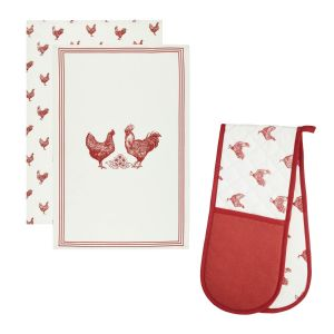 Kitchencraft Kitchen Tea Towels (2 Pack) & Double Oven Glove Set - French Hen