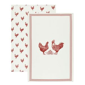 Kitchencraft Tea Towels Set of 2 - French Hen