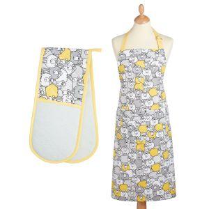 Kitchencraft Kitchen Apron & Double Oven Glove Set - Yellow Sheep