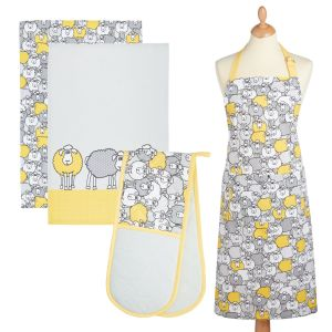 Kitchencraft Kitchen Apron, Tea Towels & Double Oven Glove Set - Yellow Sheep