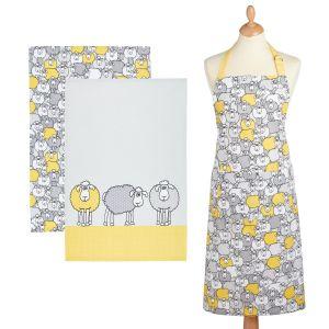 Kitchencraft Kitchen Apron & Tea Towels (2 Pack) Set - Yellow Sheep