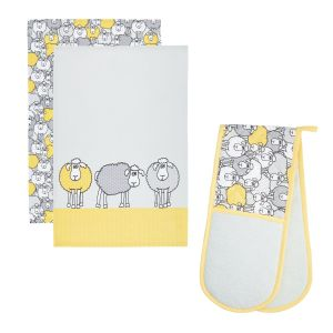 Kitchencraft Kitchen Tea Towels (2 Pack) & Double Oven Glove Set - Yellow Sheep