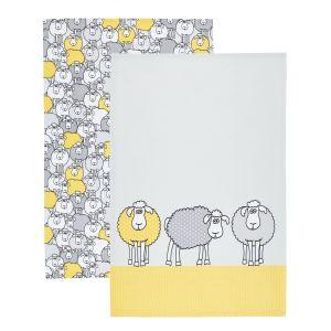 Kitchencraft Tea Towels Set of 2 - Yellow Sheep