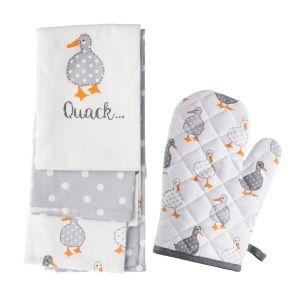Madison Duck Single Oven Glove & Tea Towels (3 pack) Set