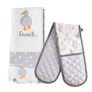 Madison Duck Double Oven Glove & Tea Towels (3 pack) Set