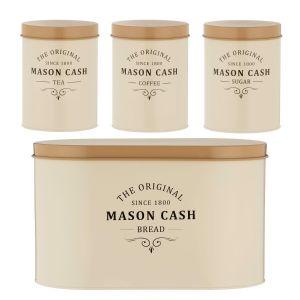 Mason Cash Heritage - Bread Bin, Tea, Sugar & Coffee Canister Set