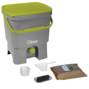 Organko Kitchen Composter - Grey & Green - (WITH Bran)