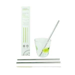 Stainless Steel Straw Pack - 2 Straws & Brush