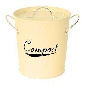 Metal Compost Pail - Cream