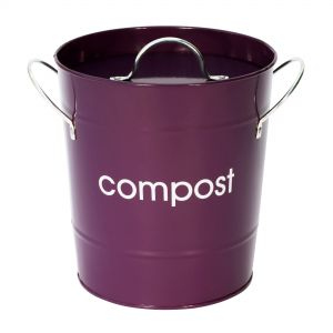 Metal Compost Pail - Purple