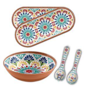 Rio Medallion Melamine 4 Piece Salad Serving Set & Platters
