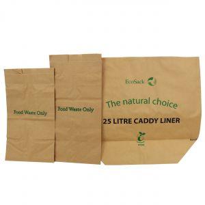 Sample Compostable Paper Bags Pack - EcoSack 8L, 10L, 25L