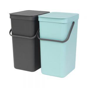 Brabantia Sort & Go Kitchen Recycling Bins Set – 16L – Mint & Grey