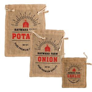 Jute Fibre Vegetable Storage Bags/Sacks Set