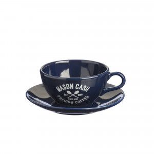 Varsity Cappuccino Cup & Saucer - Blue