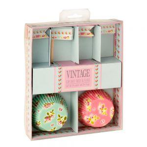 Vintage Flowers Cupcake Cases